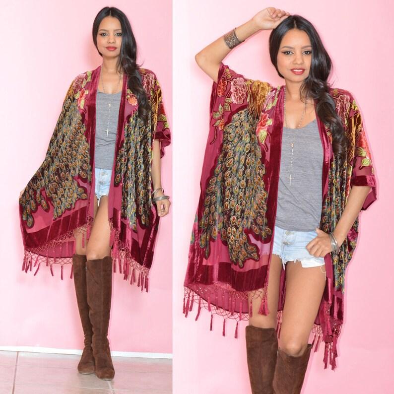 Silk Burnout Velvet Fringe WHITE Hippie Boho Gypsy Festival Kimono Jacket