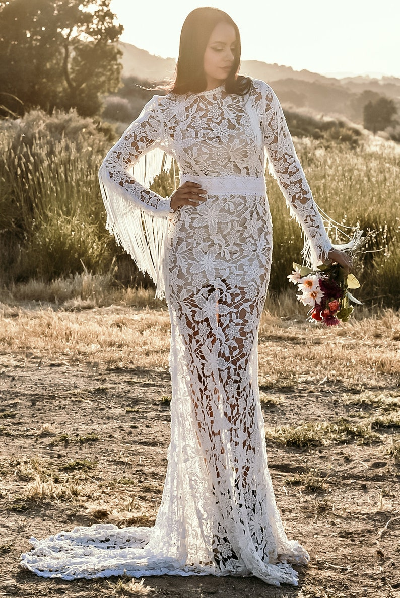 24cd51d4b70d Crochet Lace Long Sleeve Fringe Mermaid WEDDING Maxi Dress | Etsy
