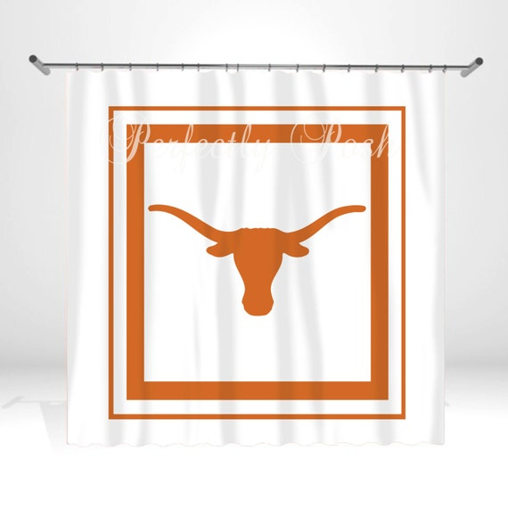 Longhorn Theme Personalized Custom Shower Curtain Monogram