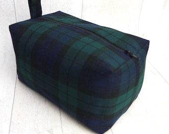 Large box makeup bag/ travel bag made with tartan cotton fabric and is fully lined