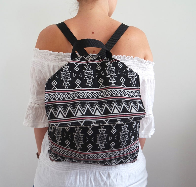 Backpack rucksack handbag purse with adjustable straps made with BohoTribal fabric.