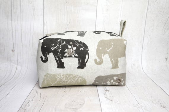 Large box makeup bag travel bag wash bag, made with elephant print cotton linen fabric and fully lined with water proof fabric