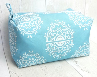 Large box makeup bag made with digitally printed henna pattern linen cotton canvas fabric