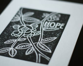 Hope - 9x6 - Original Block Print