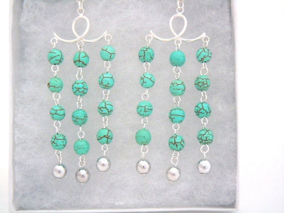 7e3d734f702b4 Handmade Statement, Bold, Sterling Silver Turquoise Magnesite Chandelier,  Drop Earrings. Egyptian inspired. Gifts for her.