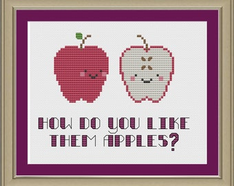 How do you like them apples: funny cross-stitch pattern