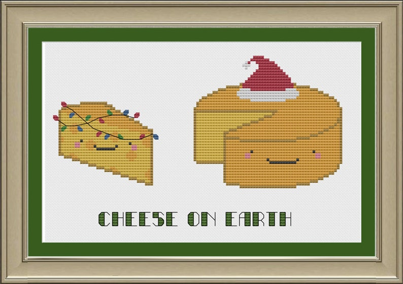 Cheese On Earth Funny Christmas Cross Stitch Pattern