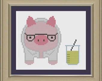 Scientist pig: nerdy cross-stitch pattern