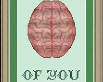 Thinking of you: brain anatomy cross-stitch pattern