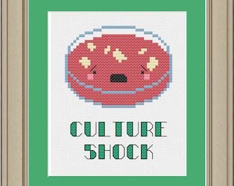 Culture shock: nerdy bacteria cross-stitch pattern