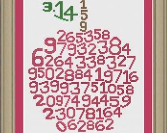 Apple pi numbers: nerdy cross-stitch pattern