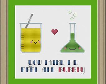 You make me feel all bubbly: nerdy chemistry cross-stitch pattern