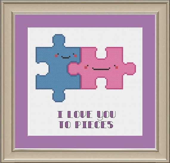I Love You To Pieces Cute Puzzle Piece Cross Stitch Pattern