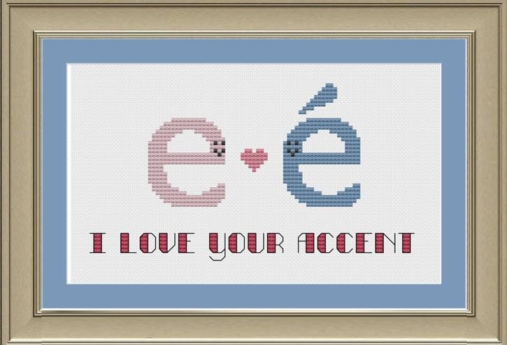I love your accent: nerdy grammar cross-stitch pattern | Etsy
