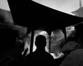 Incense Shrine Tokyo - Black and White Photograph 16X20 inch - Grant Brittain Photo