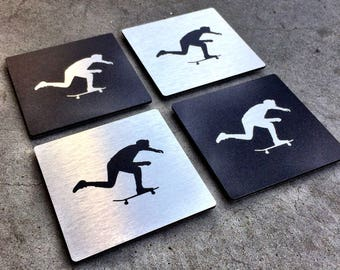 4 Pack Aluminum Skateboarding Drink Coasters - Swank Push Photo by J Grant Brittain