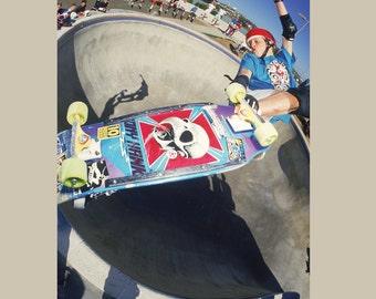 Tony Hawk Crossbone Lien Air Skateboarding Photograph - 18 x 24 Inch Eighties Skateboard Photograph - Tony Hawk Skateboard Print