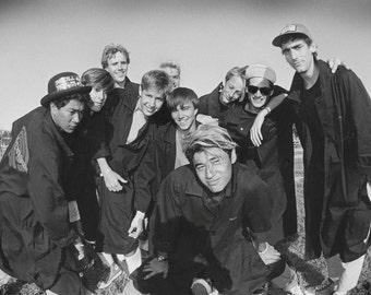 Bones Brigade Team Portrait Photo at Del Mar Skate Ranch B&W Skateboarding Photograph  1980s