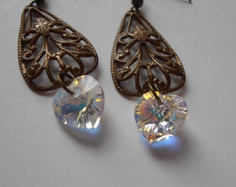 Antique brass finish vintage style filigree chandelier earrings with Swarovski crystals