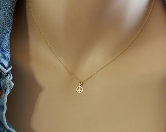 Gold Peace Sign Necklace, Minimalist Peace Sign Necklace, 6mm Delicate Peace Sign Charm Necklace, Solid 14k Minimalist Peace Sign Necklace