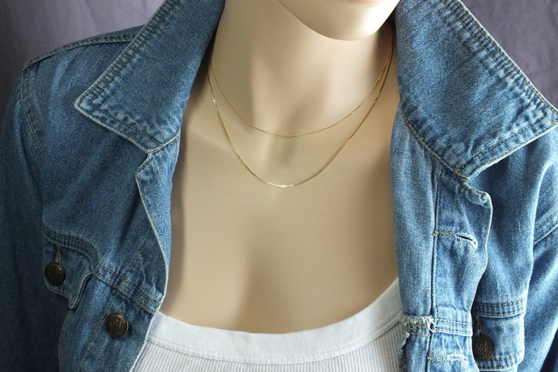 Minimalist Chain Real Gold Pendant or Layer Chain Delicate Gold Box Chain Necklace 20 Solid Gold Box Chain .5mm Gold Box Chain