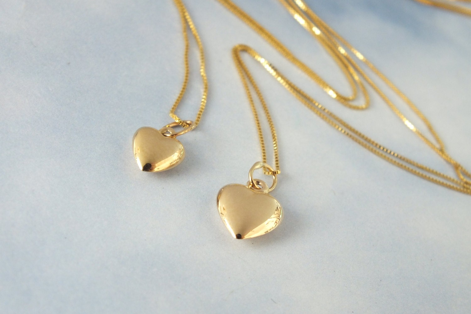 fbe4765127c1 2 Gold Heart Necklace Mother and Daughter Solid 14k Gold