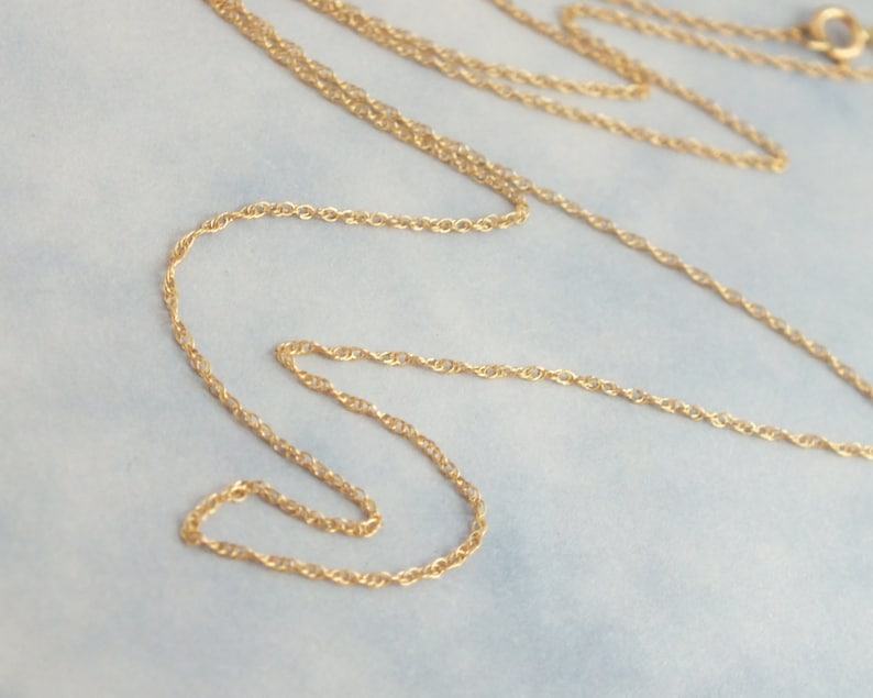 16 Solid Gold Rope Chain .89mm Delicate Rope Chain Minimalist Women Necklace Real Gold Pendant or Layer Chain 14k Solid Gold Rope Chain