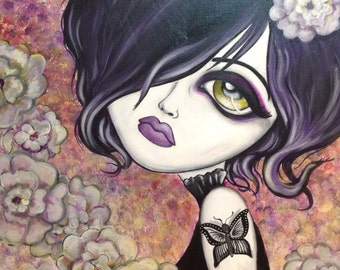 8x10 Fine Art Print -Black Butterfly-  Big Eye Art by Lizzy Falcon