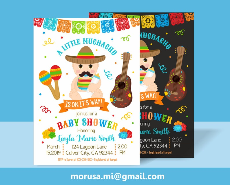 A Little Muchacho Baby Shower Printable Invitation No Etsy