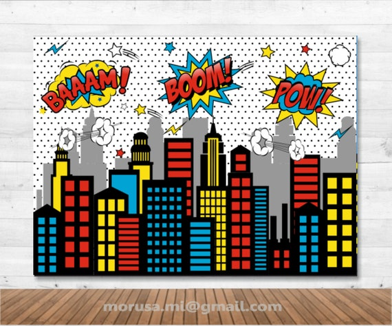 image about Printable Backdrop known as Superhero Town Skyline printable backdrop, comedian, bubbles, electronic history immediate down load history