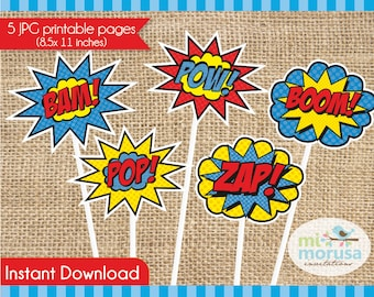 Superheroe comic, photo props, signs, sound effects, Instant Download, 5 signs,