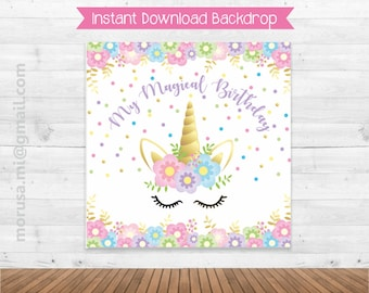 Unicorn printable backdrop, soft colors, pastel, gold, confeti, flowers. Instant download file
