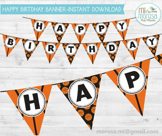 Basketball Printable Banner Happy Birthday Instant Download Etsy