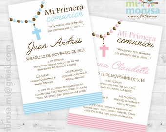 First Communion Rosary, Printable Invitation, Girl and Boy. Not an instant download file