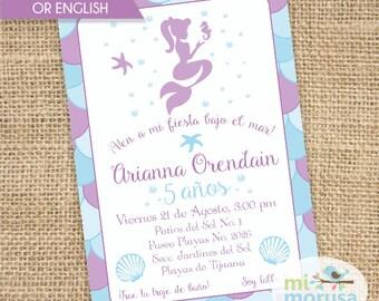 Mermaid, Birthday, Printable Invitation
