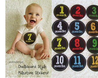 Boy Chalkboard Style Monthly Milestone Stickers