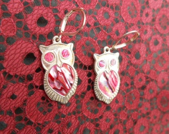 Silver Owls Earrings Inlaid with Shell