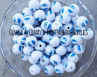 12mm Abominable snowman Face Print Beads  -  Chunky Necklaces - Set of 20 -  small beads - Christmas