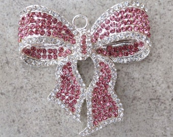 Big Pink Bow Pendant - 52mm x 49.5mm - Chunky Necklace- Princess