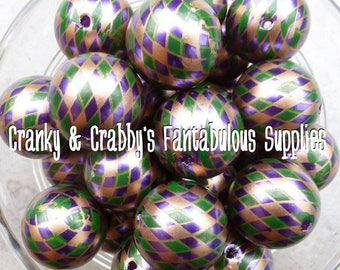 20mm Mardi Gras Harlequin -  Chunky Necklaces - Set of 10 - Mardi Gras colors - Fat Tuesday