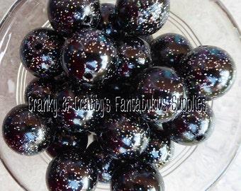 20mm Black Rainbow Glitter Pearl  -  Chunky Necklaces - Bag of 10 - Acrylic