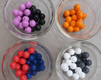 14mm Silicone Round Beads  -  Chunky Necklaces - Set of 25 - 7 Colors Your Choice Safe Food Grade Silicone Teething Beads