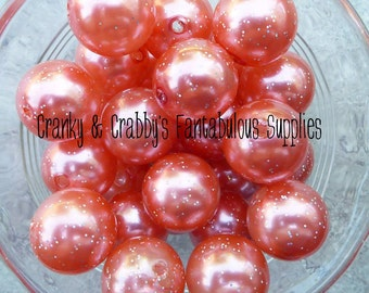 20mm Coral Glitter Pearl  -  Chunky Necklaces - Bag of 10 - Acrylic