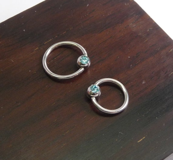 16g 1.2mm captive bead 925 sterling silver ring,cbr,rook,tragus,helix,eyebrow,septum,hypoallergenic piercing hoop with Semi-precious 4mm