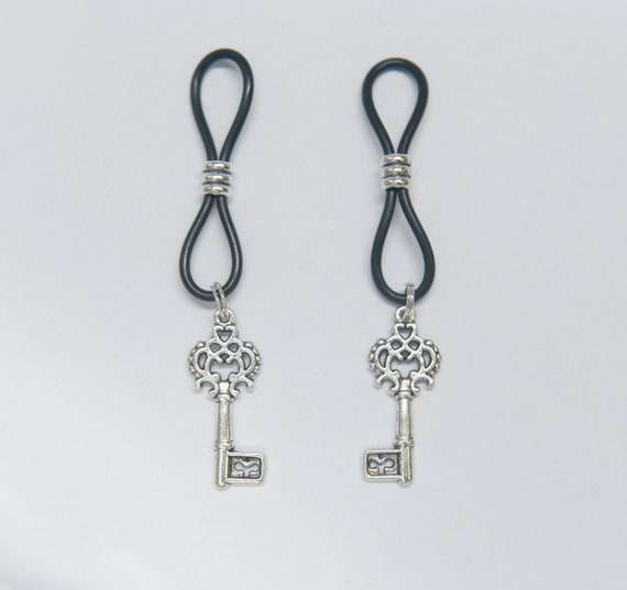 Nipple Nooses or Clamps Blue Bead Dangles MATURE Non Piercing Nipple Chain