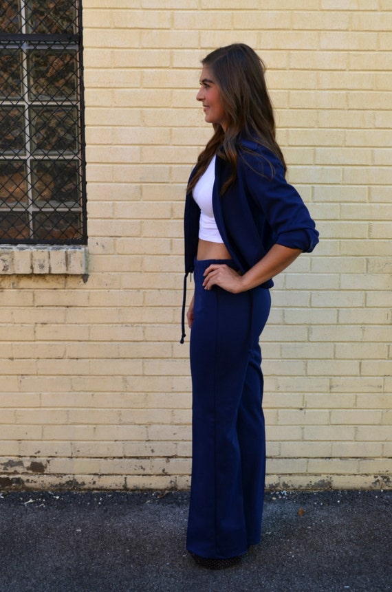 Vintage 70s Two Piece Navy Tennis Active Wear Pant