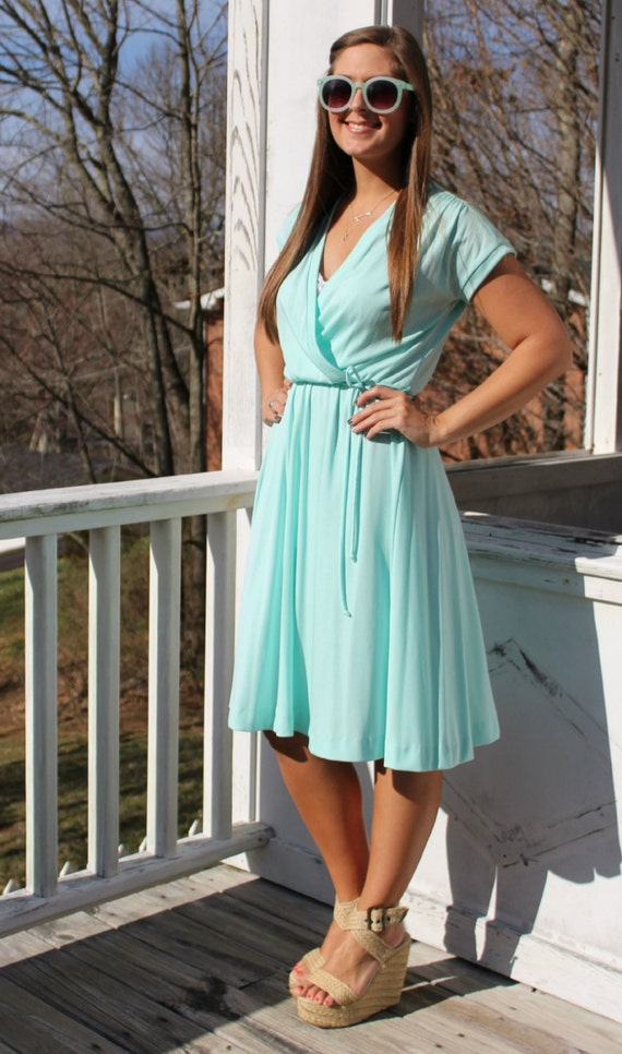 Vintage 50s Teal Faux Wrap Swing Skirt Dress