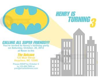Modern Batman Birthday  Party Invitation
