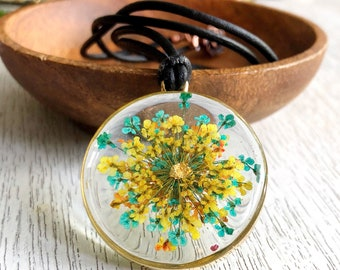 OOAK Turquoise Lemon Tangerine Queen Anne's Lace Gold Foil Resin Botanical Pendant