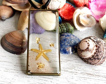 OOAK Genuine Starfish Seashell Sand Resin Seascapes Necklace